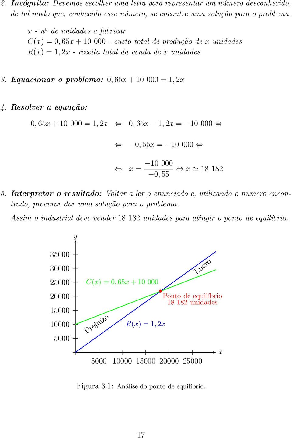 Resolver a equação: 0, 65 + 10 000 = 1, 0, 65 1, = 10 000 0, 55 = 10 000 = 10 000 0, 55 18 18 5.
