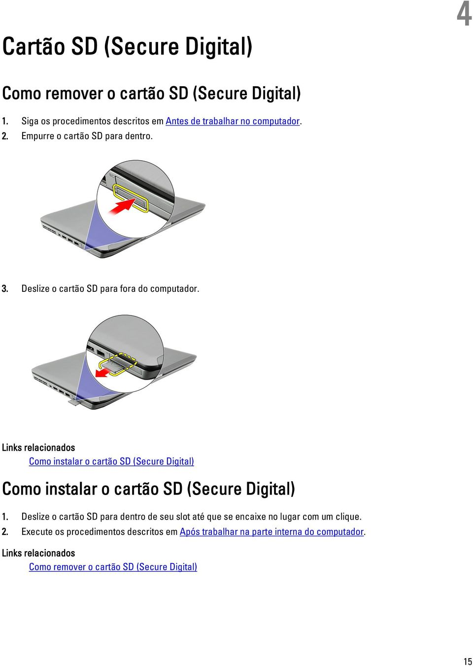 Links relacionados Como instalar o cartão SD (Secure Digital) Como instalar o cartão SD (Secure Digital) 1.